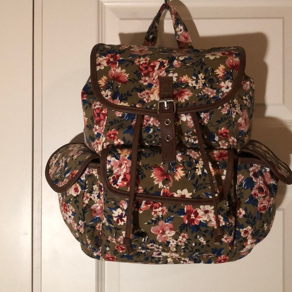 none Handbags - Floral canvas backpack